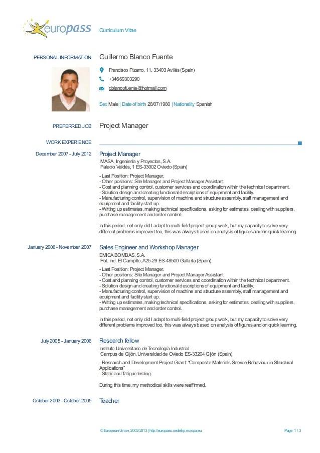 Good Nanny Cv Examples Skills On A Resume Construction Worker Resume Sample Europass Cv Guillermo Blanco