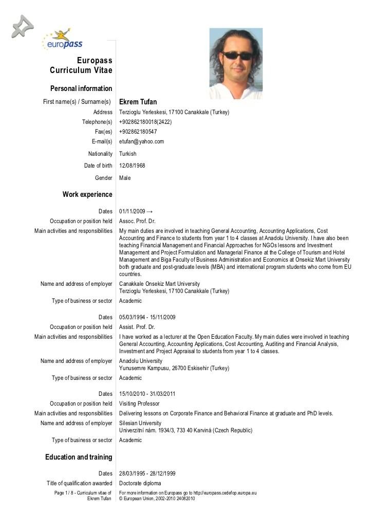 Template Of Curriculum Vitae Resume Template For Researchers Curriculum Vitae Tenk Europass Cv 28092012 Tufan
