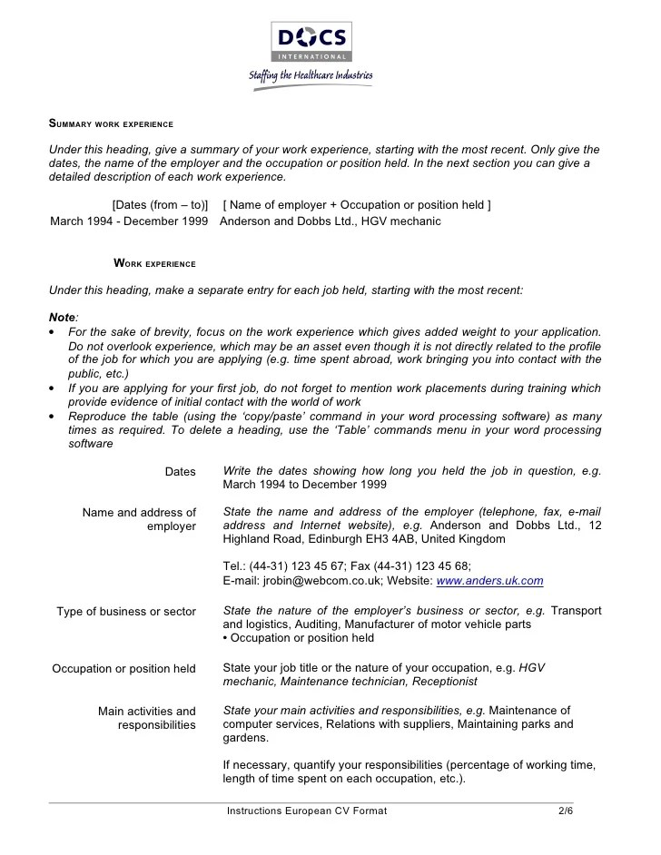 european resume template - Alannoscrapleftbehind - resume template for job application