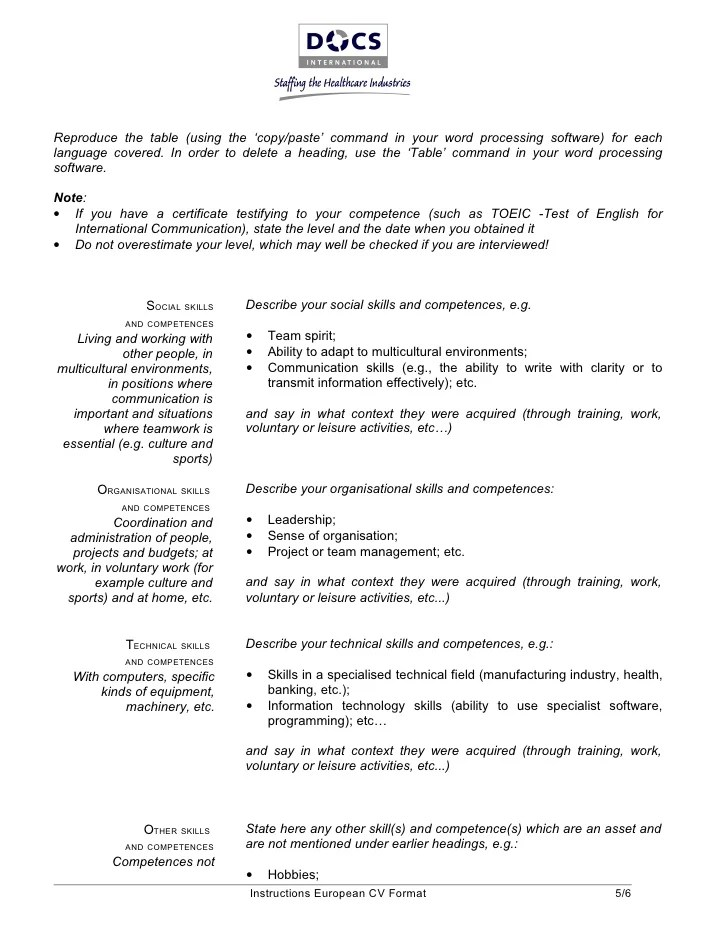 Free Resume Templates Basic Basic Resume Templates Downloads For Ms Word European Cv Template