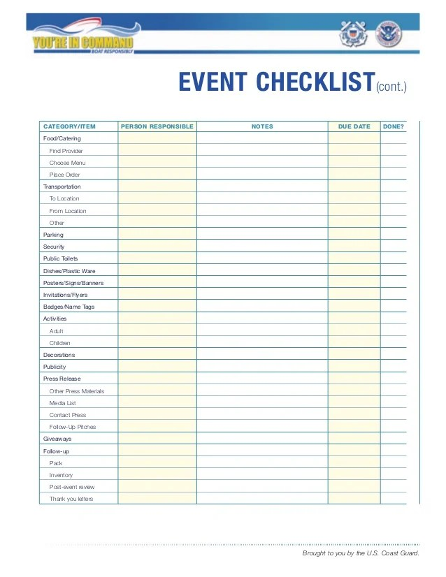 Checklist Template Event Planning  A Good Resume For Dollar General