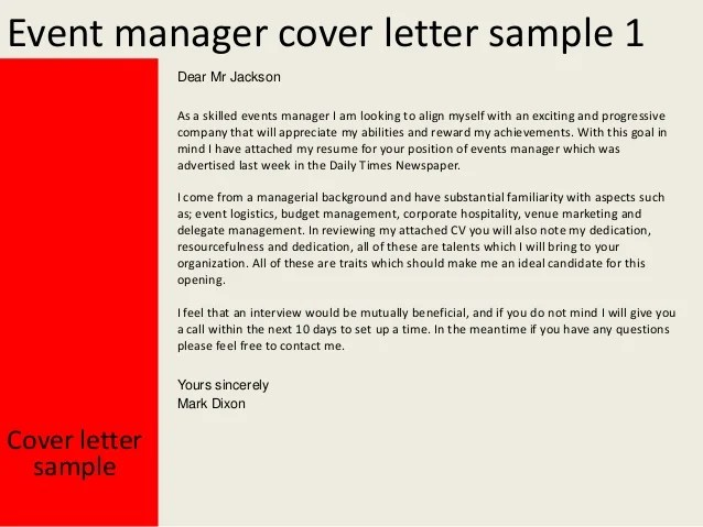 events manager cover letter