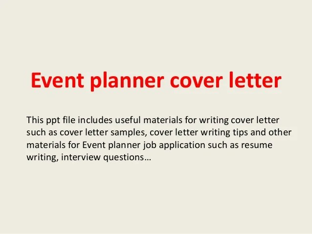 Leading Professional Event Planner Cover Letter Examples Regarding
