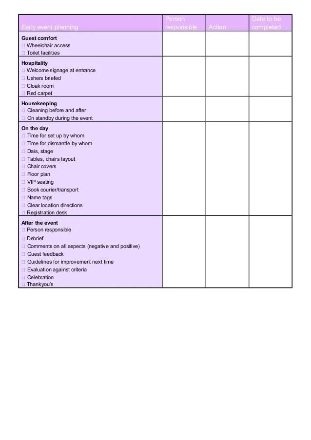 event planning sheet template