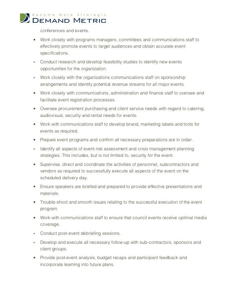 events manager job description - Romeolandinez - management job description