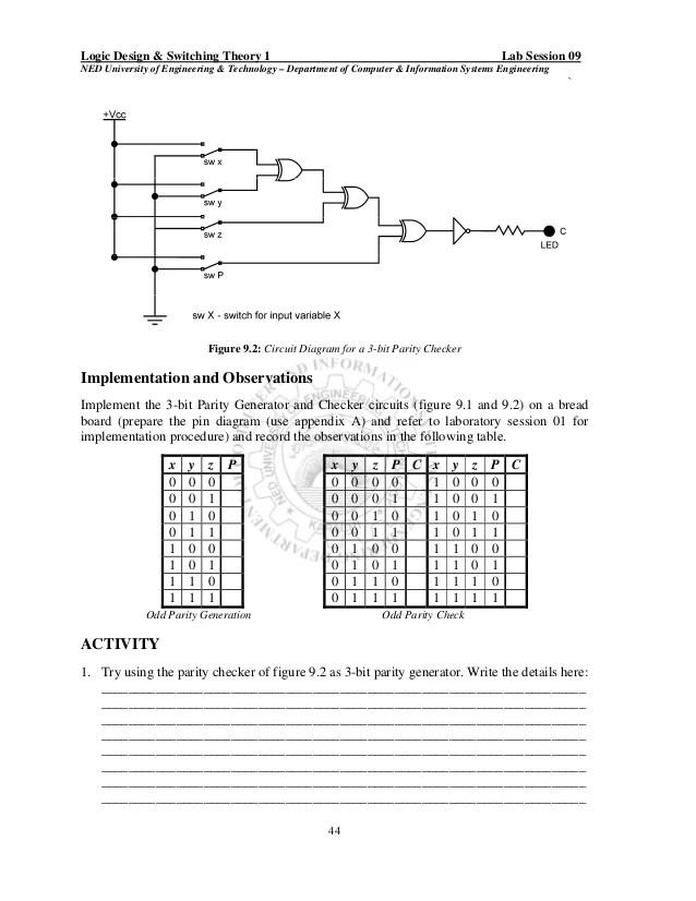 circuit diagram 3 bit parity generator