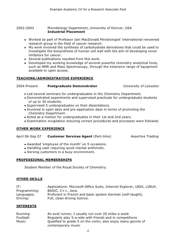 Cv Examples University Of Kent Example Academic Cv