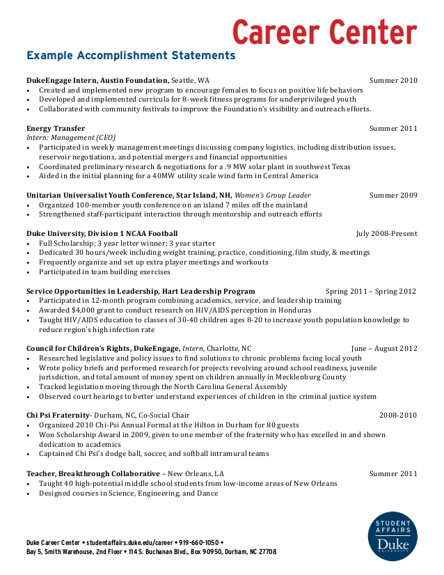 example resume accomplishment statements