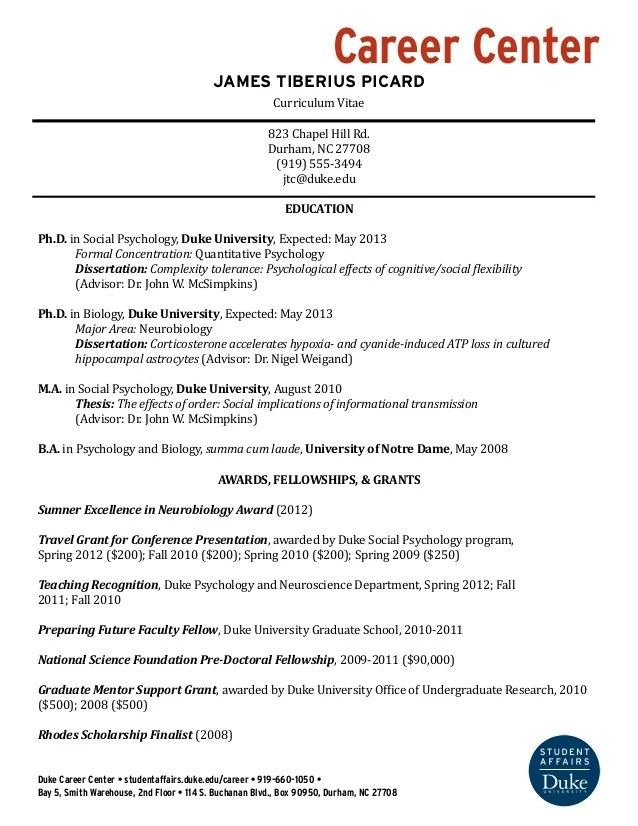 academic cv template postdoctoral position