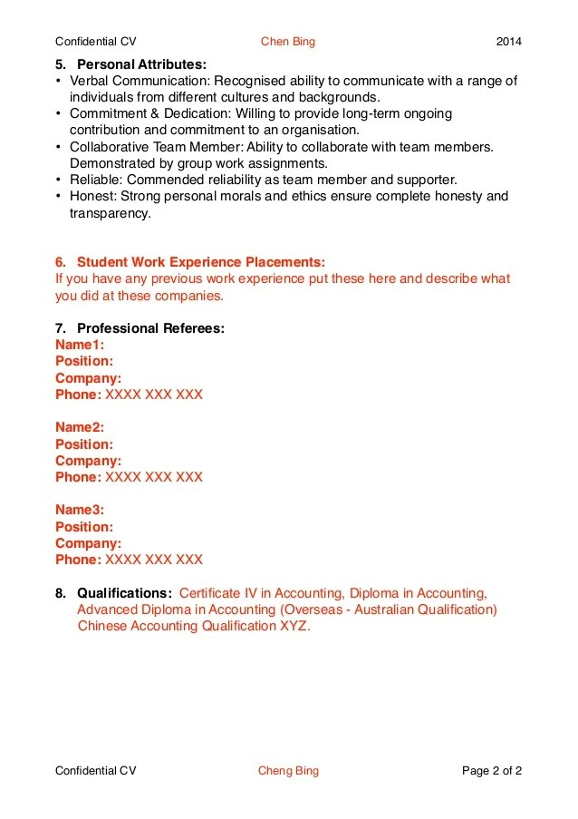 Tips For Creating A Nz Style Cv Careers New Zealand Example Cv For School And College Students