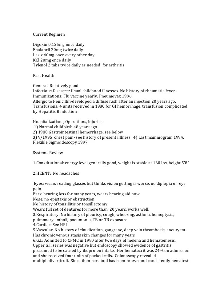 complete health history example - Akbagreenw - complete resume examples
