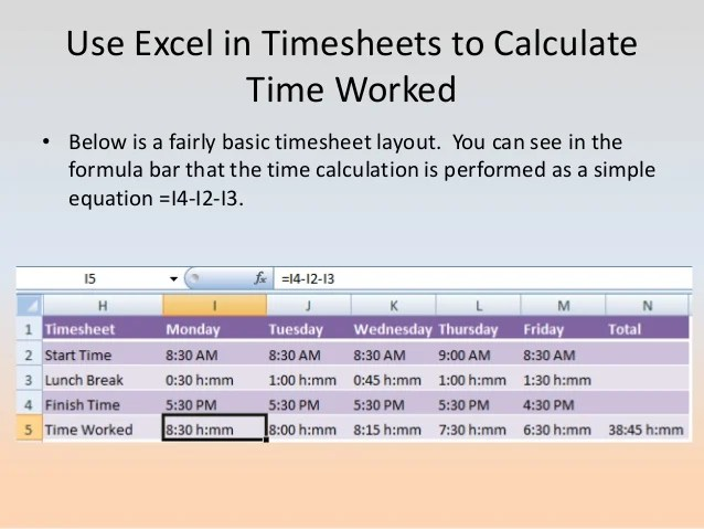 excel timesheet formula with lunch break - Gottayotti - timesheet formulas in excel