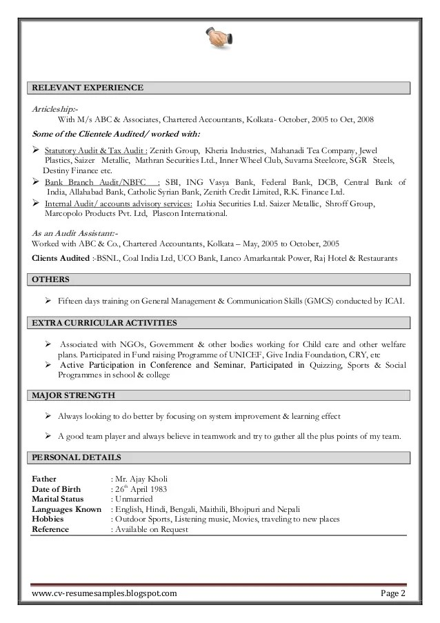 work experience professional chartered accountant resume sample accounting word format template assistant in