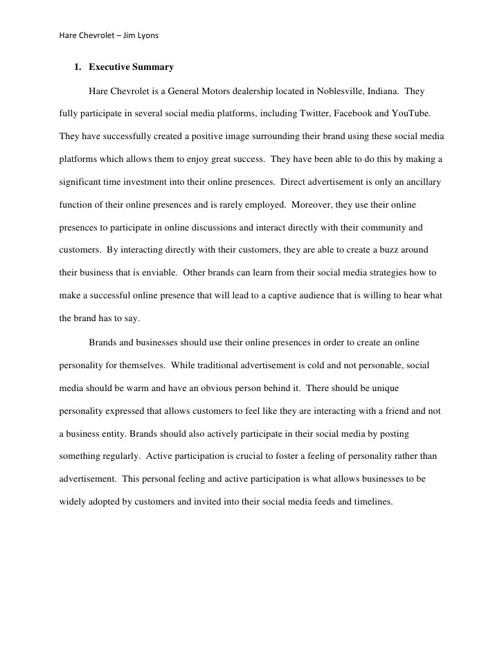 good examples of executive summaries