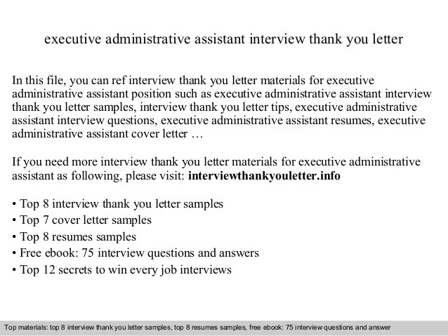 Post Interview Sample Thank You Note The Balance Executive Administrative Assistant