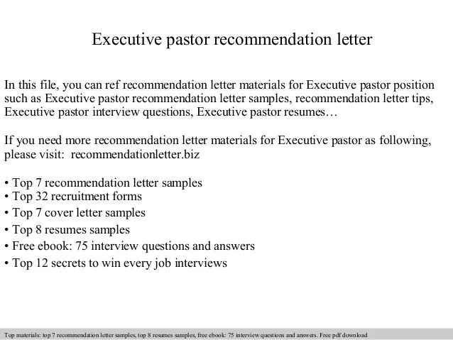 sample letter of recommendation for pastor candidate