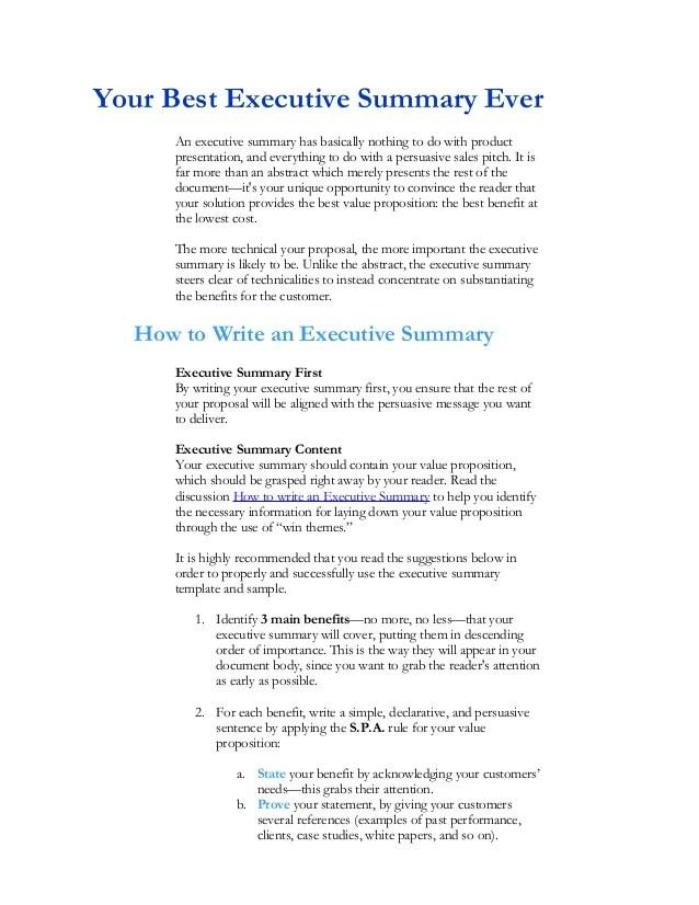 rfp executive summary template - Ozilalmanoof