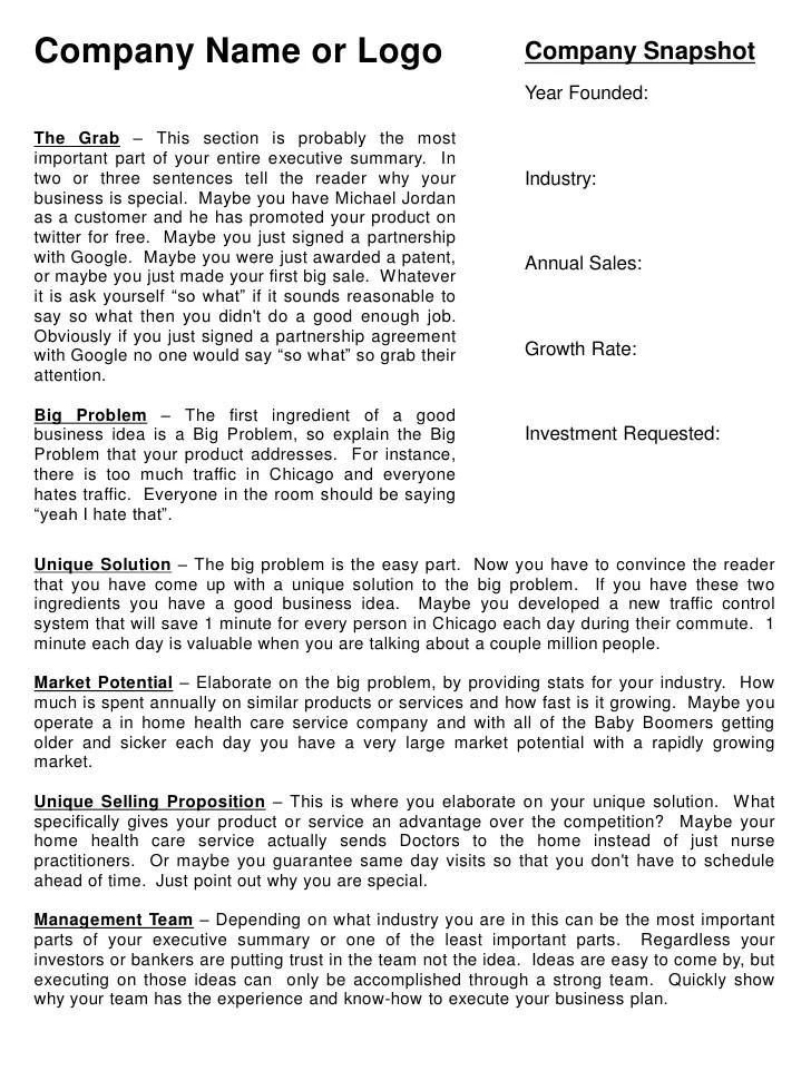 1 page executive summary template - Ozilalmanoof
