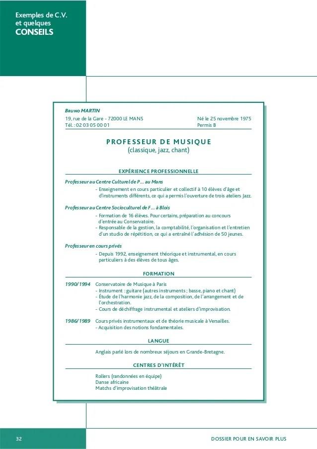 exemples de cv et quelques conseils pdf