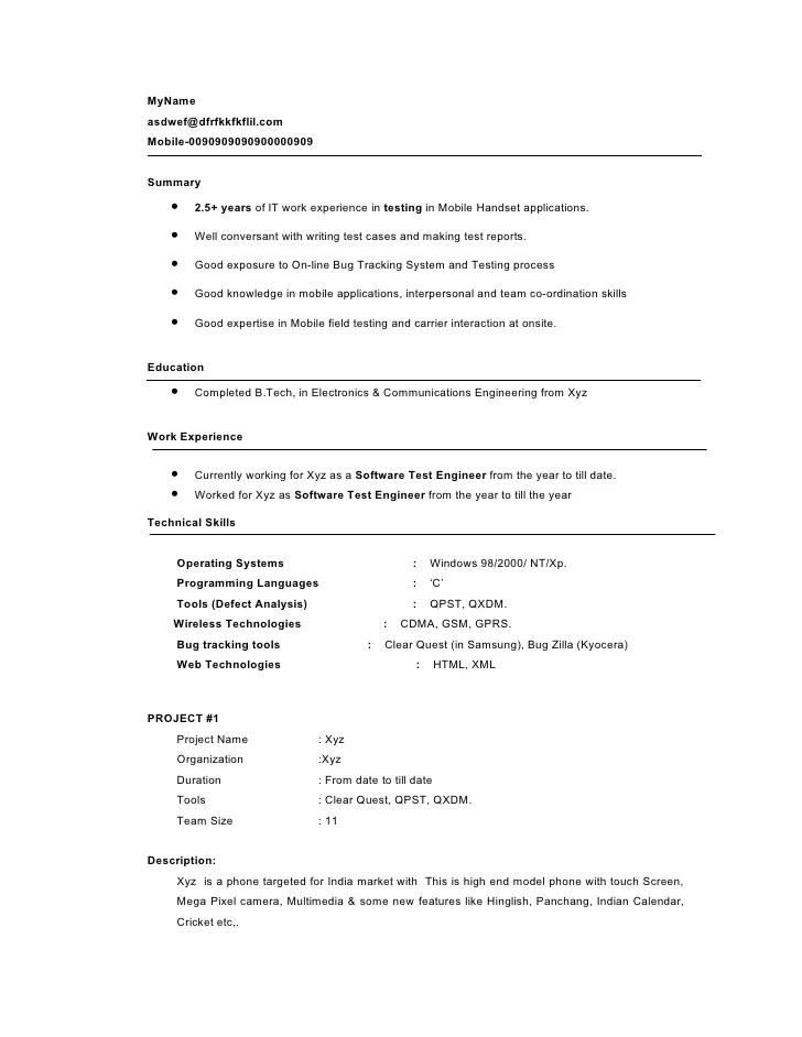 4 Experienced Engineer Resume Samples Examples Download Experienced Mobile Testing Resume Model 1 Jwjobs