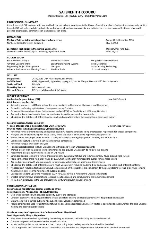 professional mechanical engineer resumes - Akbagreenw - automotive mechanical engineer sample resume