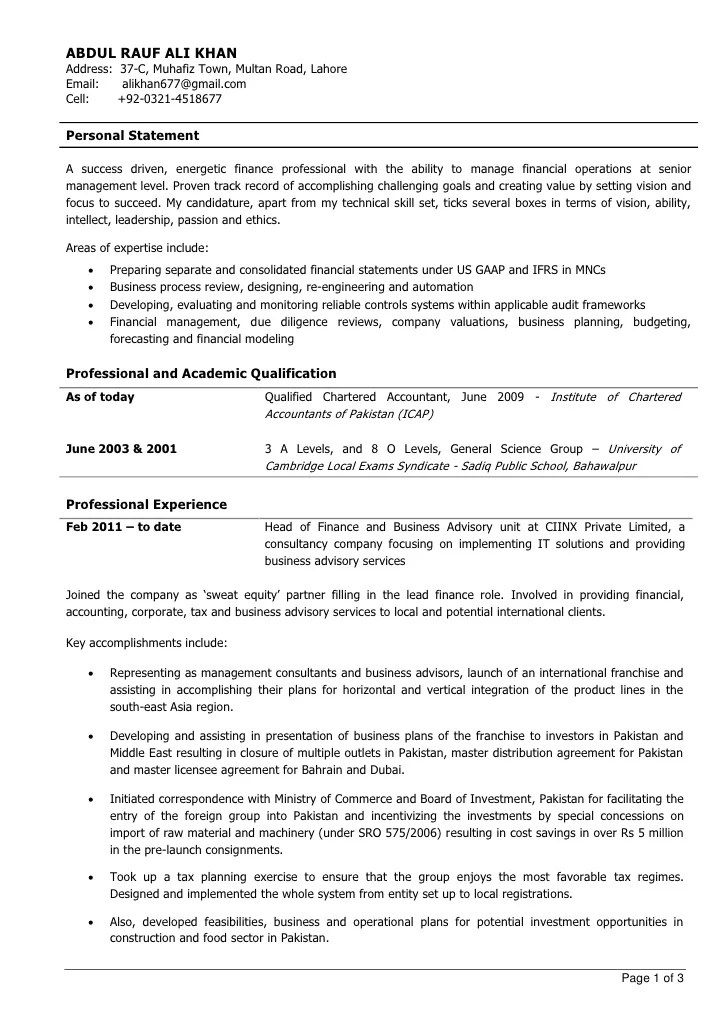chartered accountant resume format - Ozilalmanoof - chartered accountant sample resume
