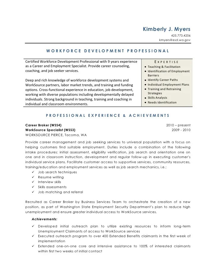 sample resume for community employment specialist