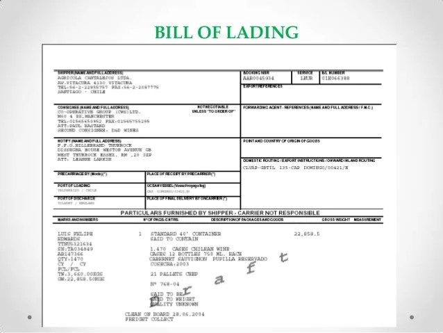 Bill Of Lading Wikipedia Expo Ingles Bill Of Lading