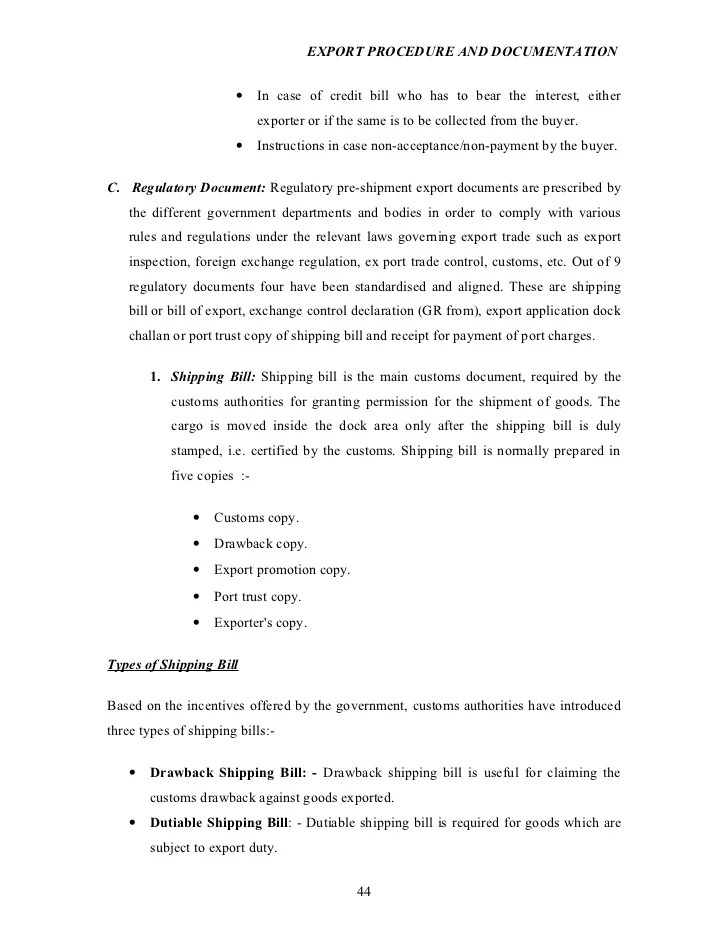 Letter Of Credit Lc Documentry Collection Export Import Export Procedure And Documentation Project Report On