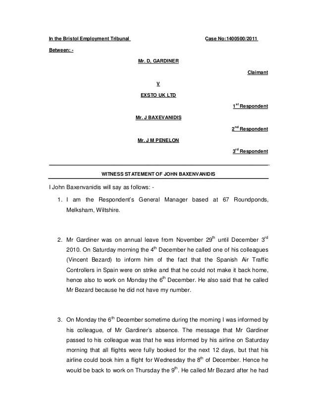 witness statement template - Romeolandinez