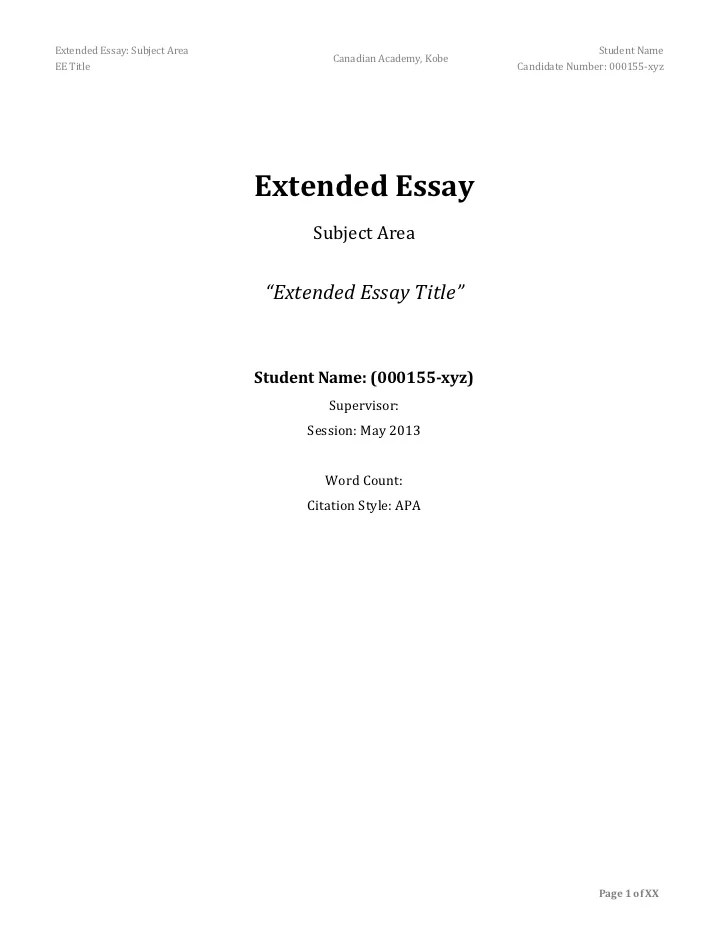 extended essay outline example Browse and read ib extended essay outline example ib extended essay outline example some people may be laughing when looking at you reading in your spare time.