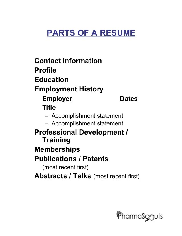 important parts of a resumes - Trisamoorddiner