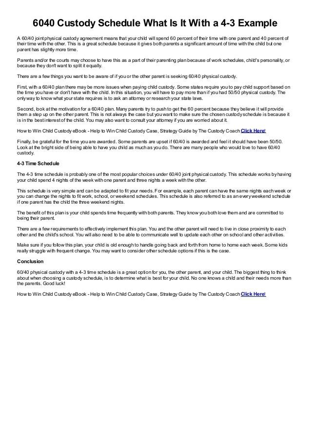 examples of custody agreements - Goalgoodwinmetals - sample child custody agreement