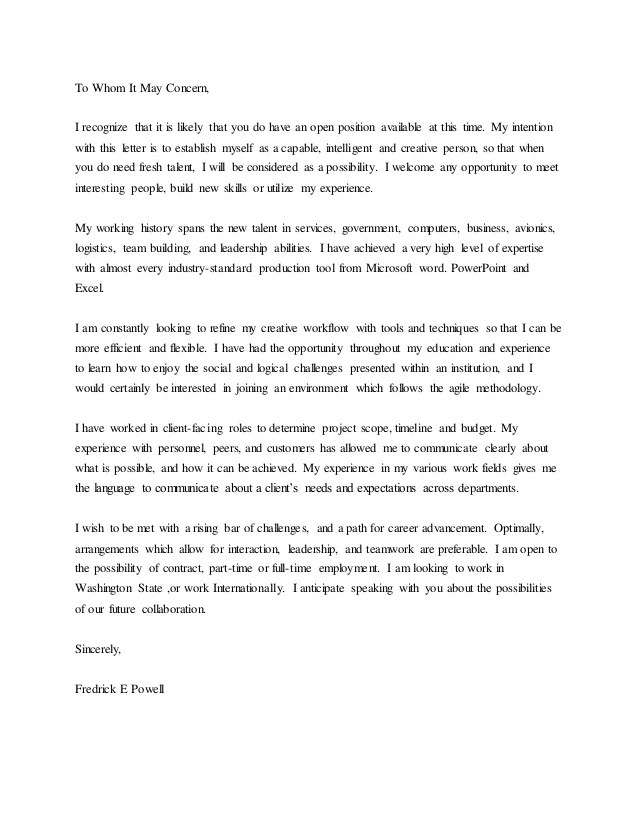 universal cover letter samples - Josemulinohouse - cover letter for any open position