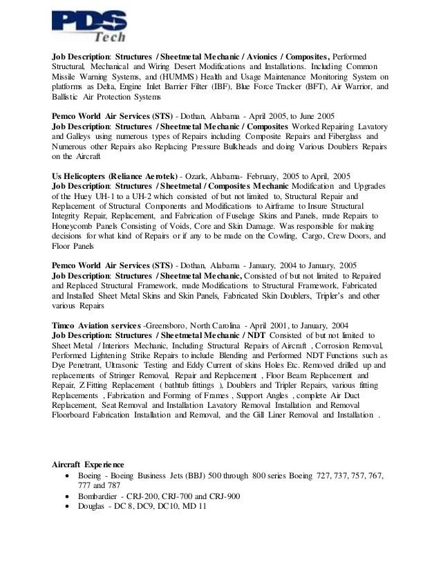 aircraft mechanic resume job description