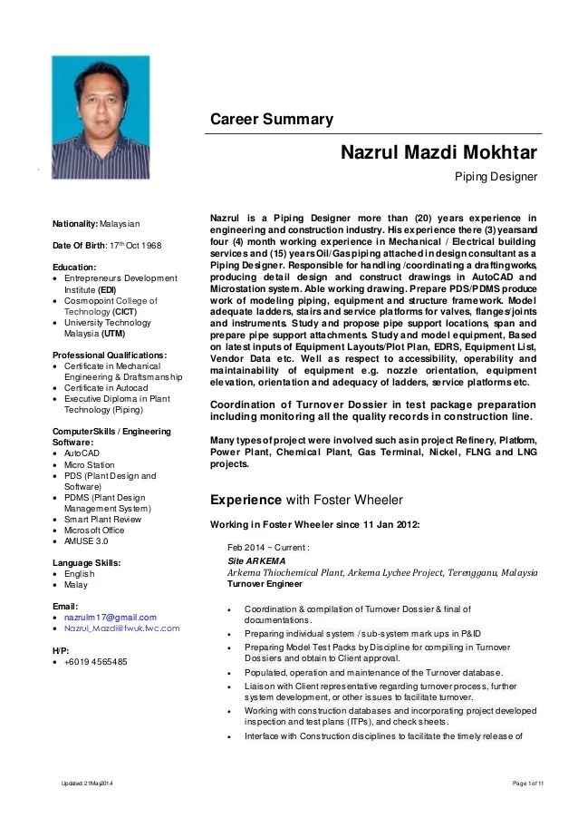 Mechanical Engineer Resume Sample Livecareer Resume Nazrul Mazdi Mokhtar Piping Designer