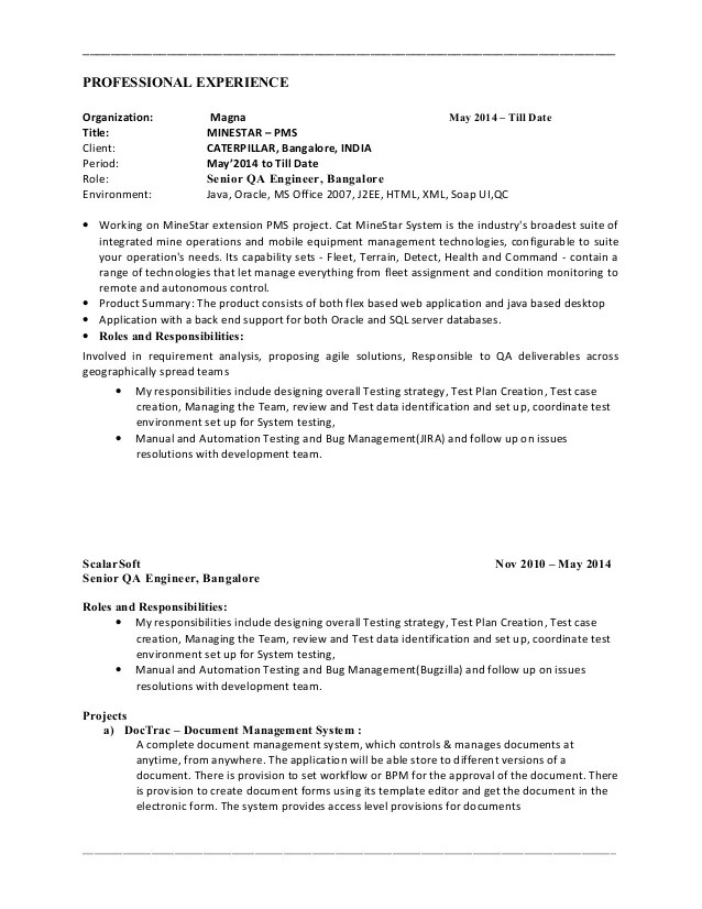 sample manual testing resume - Bire1andwap