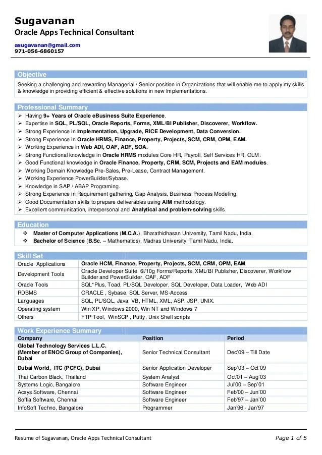 oracle apps cloud resume sample