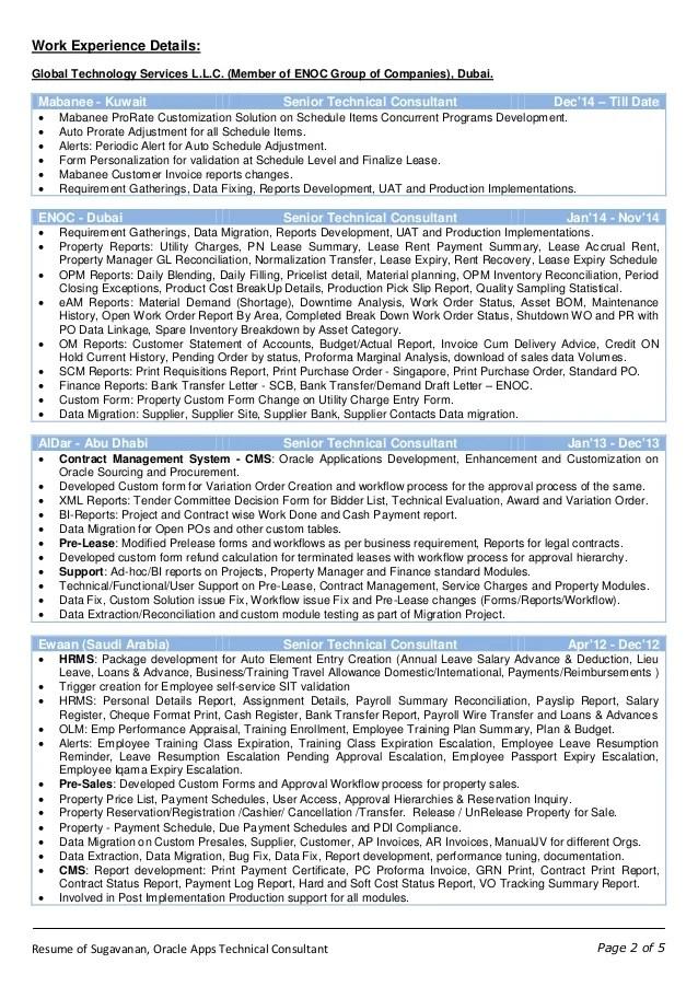 oracle consultant resume - Goalgoodwinmetals