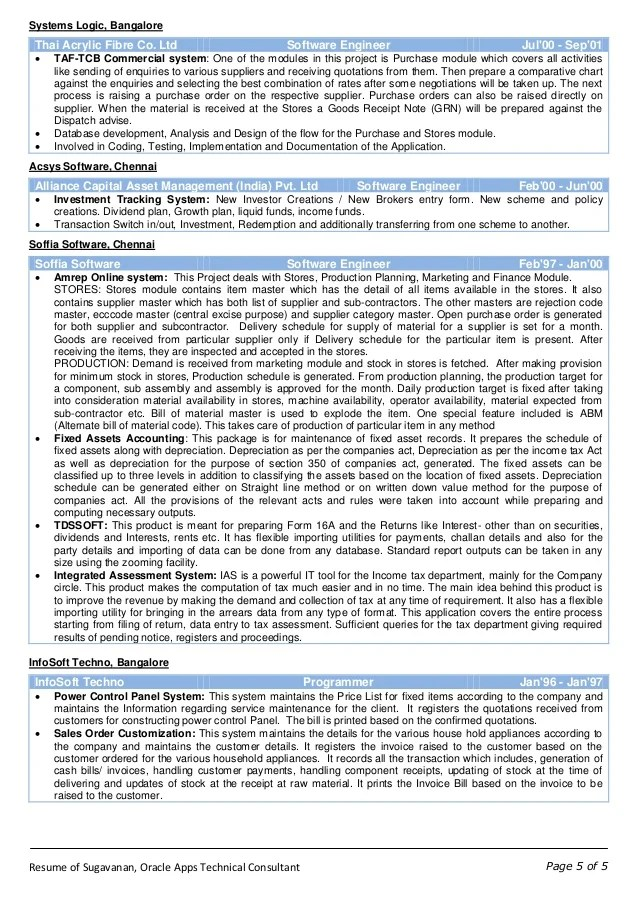 oracle apps technical sample resume