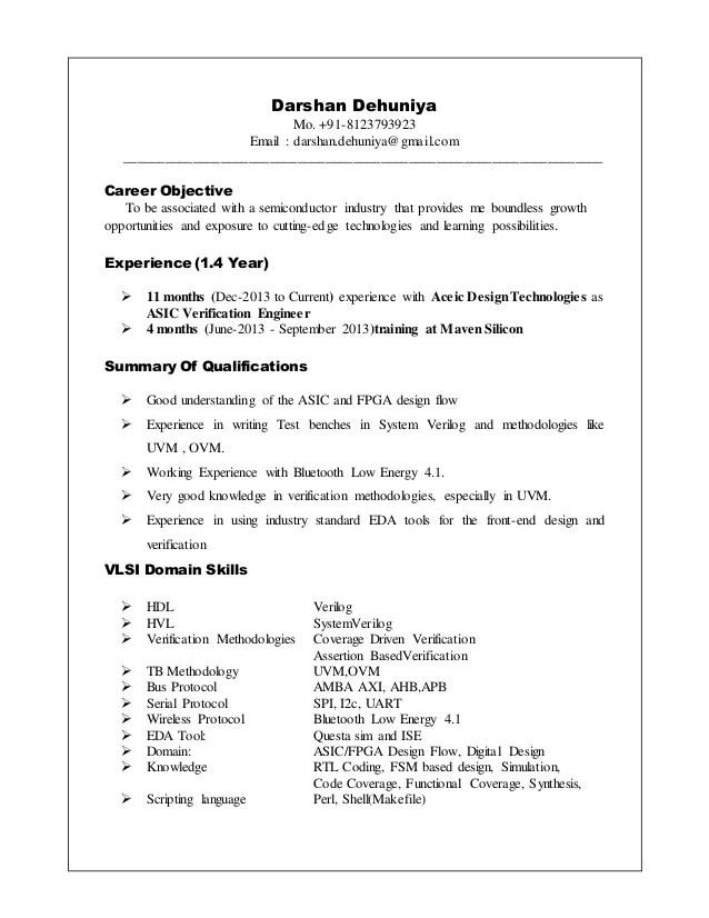 verification engineer resume examples