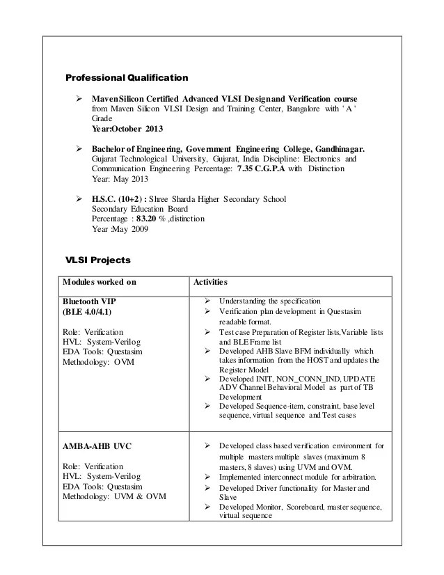Template Of Resume For College Resume Template 781 Free Samples Examples Format Darshan Dehuniya Resume Asic Verification Engineer 1