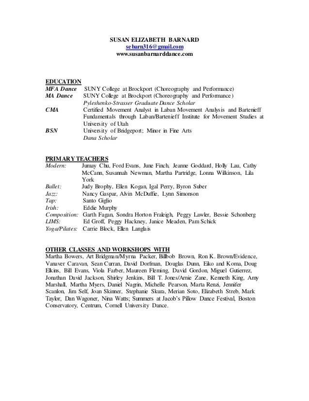 modern dance resume - Pinarkubkireklamowe