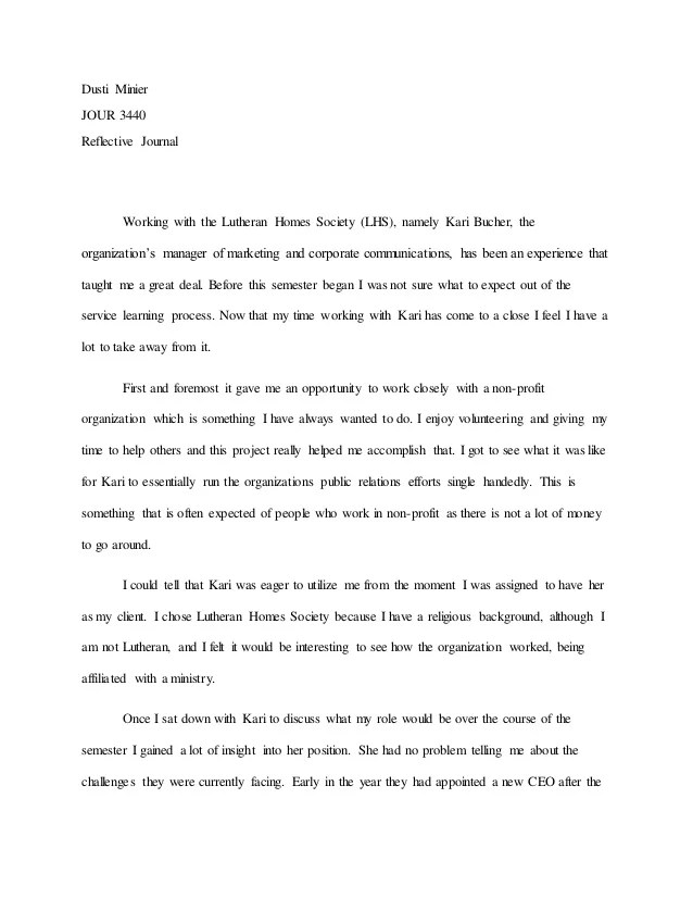 service learning reflection essay