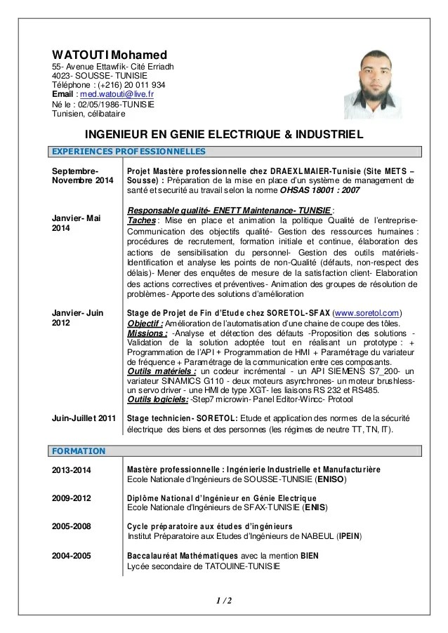 cv ingenieur electronique embarque