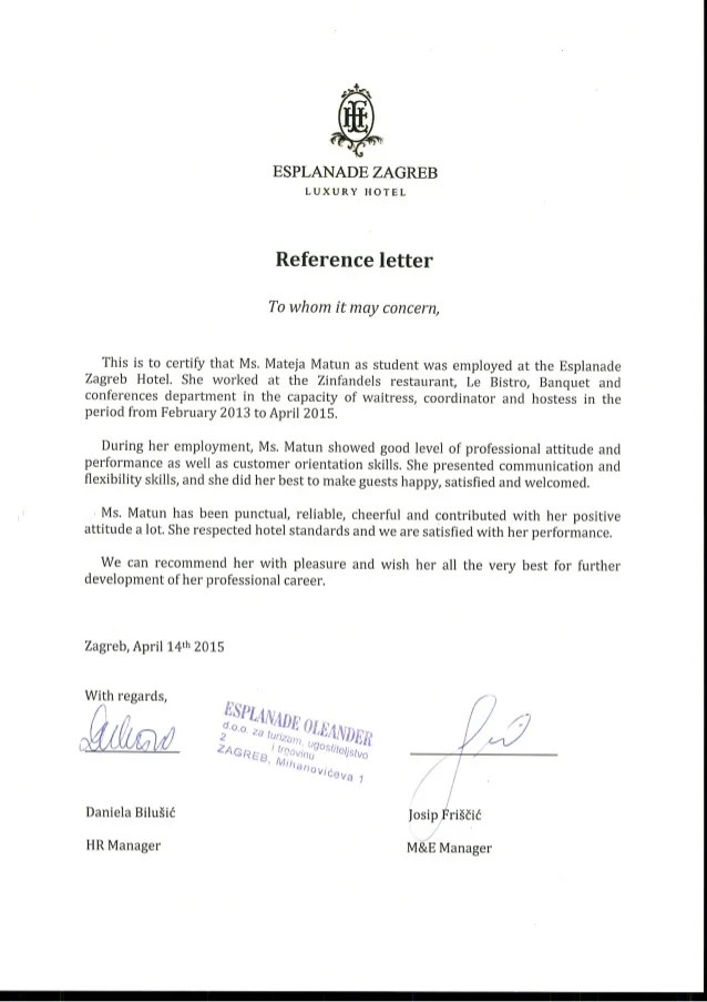 Letters Of Recommendation Reference Letter Esplanade Zagreb Hotel