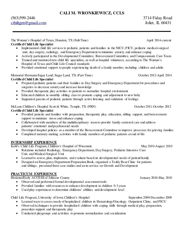 child life specialist resume sample