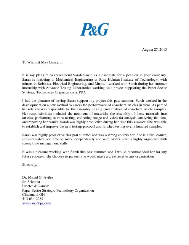 recommendation letter to whom it may concern - Baskanidai