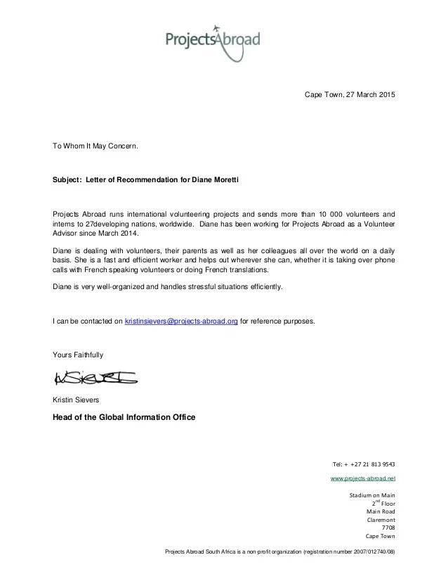 letter of recommendation from volunteer organization - Pinar