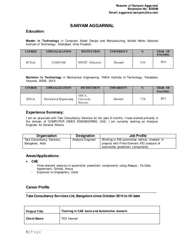 resume model for tcs